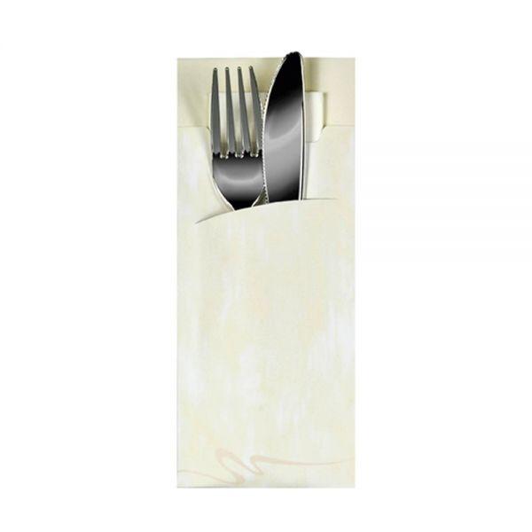 Bestecktasche 20 x 8,5 cm - Crème inkl. Serviete Weiß 33 x 33 cm - 2-lagig (520 Stück)